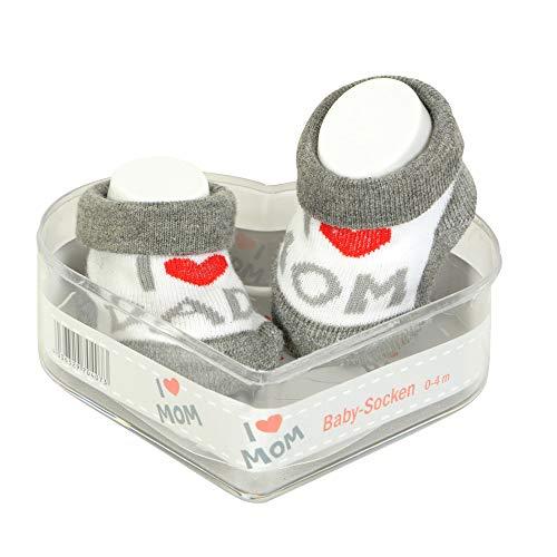 Neugeborene Babysocken 0-3 Monate Kleiner Junge| Dicke Baumwolle & rutschfeste Griffe | Perfekter Geschenk für Neugeborene Babys & Babyshowers | Grau