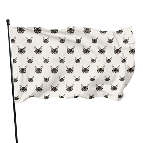 LAKILAN Gato con Gafas De Sol Geniales Decorativo Al Aire Libre,150X90Cm Banner,Banderas De Jardín,Banderas De Vacaciones,Bandera Brisa,Garden Decoration Flag