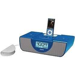 iHome (SDI Technologies) - IP43LVC - Blue iP43 Dual Alarm Clock FM Radio With Pillow Shaker And iPod