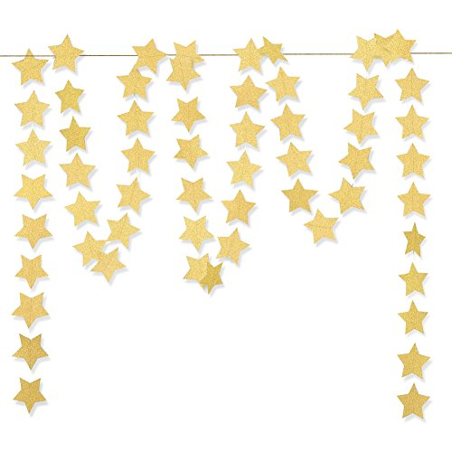 Koker Sparkling Star Garland, Paper Hanging String Banner Decoration for Wedding, Birthday Party Baby Shower Backdrop, Glitter Gold, 11.5 Feet/3.5 m