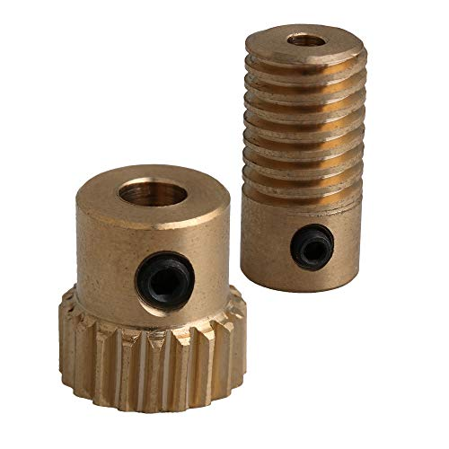 CNBTR Yellow 0.5 Modulus Compact Brass Worm Reducer 20 T Wore Gear Wheel + 3mm Bore Worm Gear Shaft