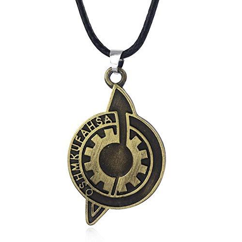BJGCWY Abzeichen Halskette Das Schicksal des Steins Anhänger Halskette Frauen Männer Schmuck 50cm N32-1