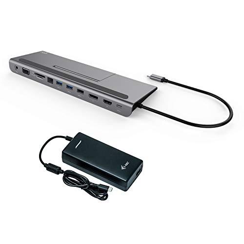 i-tec USB-C 4K Dockingstation mit Universal Ladegerät 1x HDMI 1x VGA 1x DisplayPort 1x GLAN 2X USB-A 3.0 1x USB-A 2.0 1x SD/MicroSD 1x Audio, Power Delivery 85W, für Windows MacOS TB 3 Kompatibel