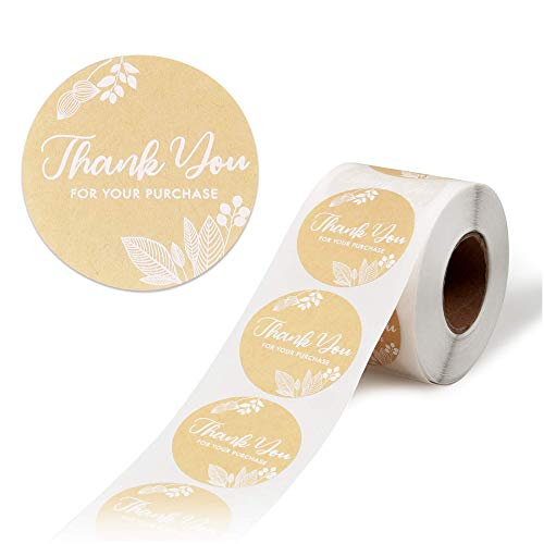 Thank You Stickers Roll, 500-Count Thank You Stickers Small Business, 2-Inch Thank You for Your Purchase Stickers, Kraft
