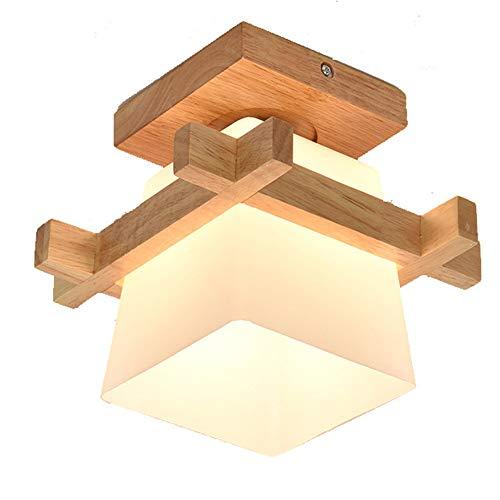Decke Ganglampe Holz Deckenlampe Vintage Rustikale Flurlampe 1-Flammig Holzlampe Glas Lampenschirm Nordisch Landhausstil Deckenleuchte E27 Wohnzimmer-Lampe Schlafzimmer-Leuchte Innen Eingangsleuchte