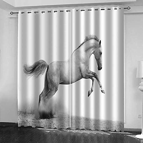 NTBDWOSQ Tende Oscuranti 3D 182X214 Cm (Lxa) Cavallo Animale Bianco Tenda Occhielli Tende da Interni Camera da Letto Soggiorno Moderne Cameretta Bambini, Tenda Decorativa per - Isolamento con Canc