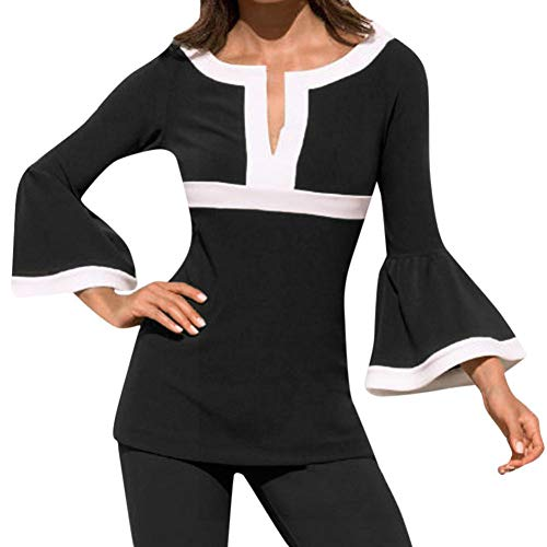 Zarupeng dames V-hals tuniek patchwork lange mouwen blouse slim shirt top T-shirt tops