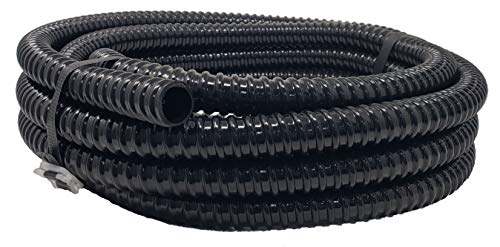 Sealproof 3/4' Dia Corrugated Pond Tubing 3/4-Inch ID, 20 FT Long, Black Kink Free Strong and Flexible Made in USA PVC Tubing