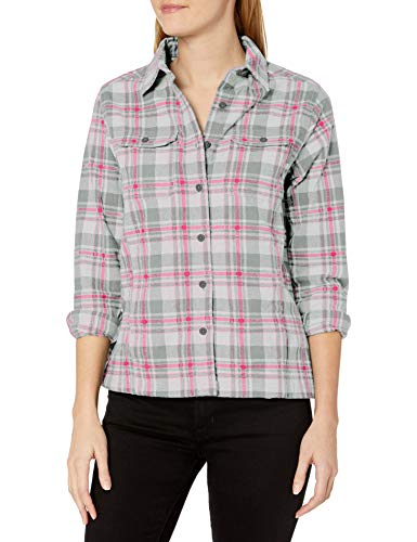 Wolverine Women's Redwood Two-Sided Brushed Flannel Shirt Jac, Lead Plaid, Large