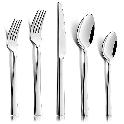 20 Pieces Silverware Set for 4, HaWare Stainless Steel Modern Elegant Stylish Flatware Cutlery Eating Utensils, Ergonomic Design Handle, Mirror Polished, Dishwasher Safe