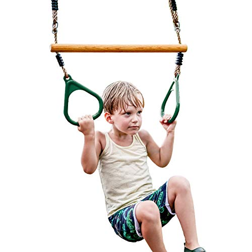 HappyPie Wooden Trapeze with Plastic Gym Rings - Outdoor N Indoor Playground 2 in 1 Swing Set Accessories for Kids (Green)