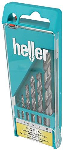 Heller Tools 335 HSS Turbo Holzbohrer, Silber-Schwarz, 3/4/5/6/8 mm