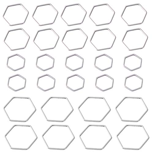 Milisten - 30 colgantes con cable de acero inoxidable y colgante hexagonal con marco vacío para pendientes de resina, para hacer fotos, llavero, creación de joyas en