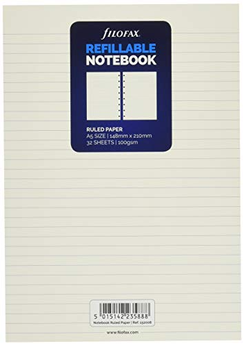Filofax A5 Ruled Notes for Refillable Notebook - White, 152008