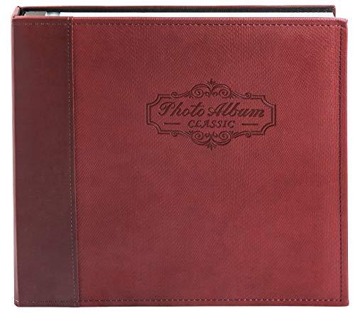 Golden State Art Fotoalbum, Leder-Design, 40 Selbstklebende Seiten, für Bilder in verschiedenen Größen, zum Selbermachen, für Familie, Hochzeit, Erinnerungen, Sammlungen 12.4x12.7 kastanienbraun