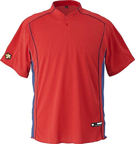 DESCENTE(デサント) 野球 立衿2ボタンベースボールシャツ レッド Mサイズ DB109B