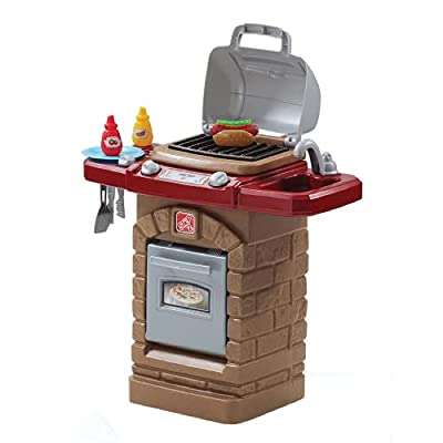 Step2 Fixin' Fun Outdoor Grill | Plastic Toy Grill & Play Food | Pretend Play Grilling Set