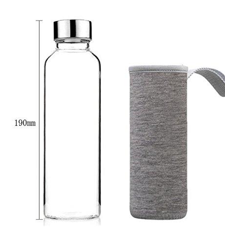 Bouteille d'eau Nykkola élégante en verre borosilicate - Avec manchon en nylon gris - Bouchon en acier inoxydable - 360 ml