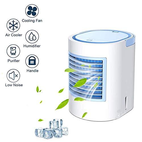 Yangm Mini-airconditioner, draagbaar, 3-in-1 koeler, luchtbevochtiger met 3 snelheden, voor thuis en keuken