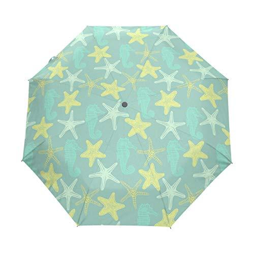 Small Travel Umbrella Windproof Outdoor Rain Sun UV Auto Compact 3 Folds Umbrellas Cover - Yellow Star Fish and Sea Horse
