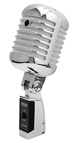 Pronomic DM-66S Microfoon Dynamische Vintage Zangmicrofoon Retro Vocal Microfoon (frequentiebereik: 50-16.000 Hz, stabiele gegoten behuizing) zilver