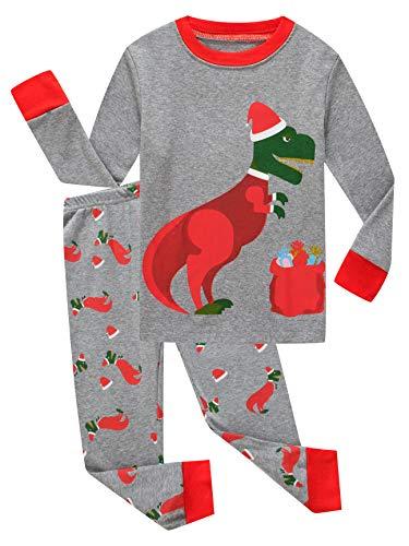 Family Feeling Little Boy Girl Long Sleeve Christmas Pajamas Sets 100% Cotton Kid Holiday Pyjamas Kid Pjs Size 7 Dinosaur