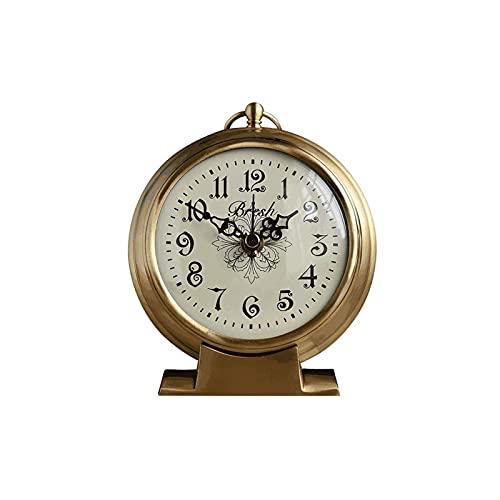 XBYUNDING Reloj de chimenea Sit Sit Bell Pure Copper Reloj Retro Reloj de escritorio de estilo europeo Regalo de reloj de reloj digital,adecuado para la decoración de la sala de estar,chimenea,escrito