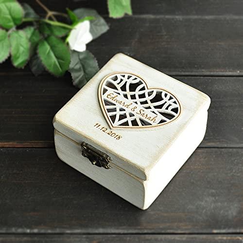 MUY Caja de Anillo de Boda Personalizada Caja de Almohada para Portador de Anillo Caja de Anillo de arpillera Elegante lamentable rústico Caja de Recuerdo