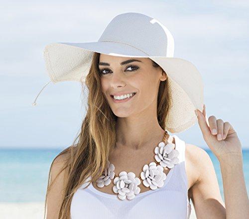 MBW Statement-Halskette XXL Blumen in der Farbe weiß Modeschmuck Collier Trend-Schmuck