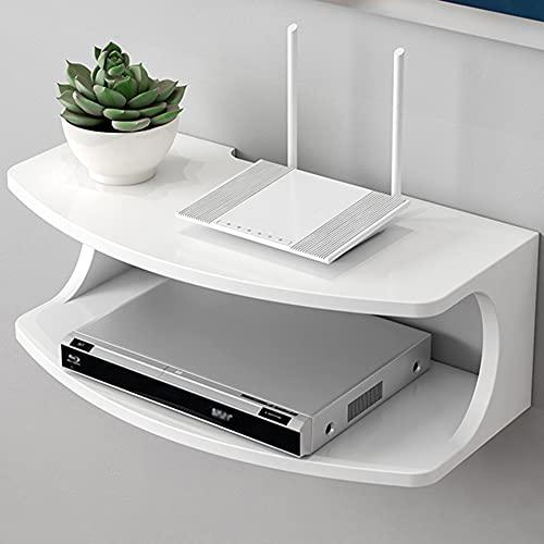 Estante del decodificador, estante flotante de la consola de TV multifuncional, estante de almacenamiento del enrutador de la exhibición de la sala de estar/White / 50x25x18cm