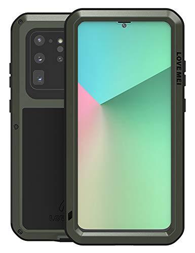 FONREST Ganzkörper Hülle für Samsung Galaxy S20 Ultra 5G, 6,9-Zoll Love MEI Stoßfest Schwerlast Draussen Hybrid Aluminium Metall Staubdicht Hülle mit Hartglas, Unterstützt drahtloses Laden(Armeegrün)