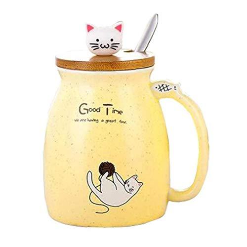 Taza De Cerámica Taza De Café Con La Taza Amarilla De La Tapa Y La Cuchara Del Recorrido Oficina Del Vaso De Dibujos Animados Del Gato Taza De Té Taza De La Mamá