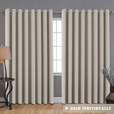 """Extra Long and Wide Blackout Curtains, Thermal Insulated Premium Privacy Room Divider Window Treatment Drapes, 7' Tall by 8.5' Wide - Grommet Wider Curtain Large Size 100"""" W by 84"""" L - Cream"""