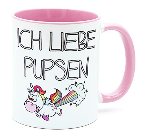 Ich Liebe Pupsen Tasse Rosa Unicorn Kaffee Tee Becher Büro Arbeit Süße Einhorntasse Arbeitskollegin Frauen Kollegin Freundin lustig Bürotasse Geschenk Geburtstag Spruch verrrückt Einhörner Kacken
