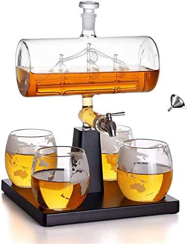 FFLL Juego De Decantadores De Whisky con 4 Gafas De Globo, Dispensador De Whisky para Vino, Decantador De Licores, Escocés, Ron Y Licor O Espíritus 1000Ml