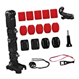 IPOTCH 1 Set 19 in 1 Adjustable Motorcycle Helmet Chin Mount Portable Lightweight Easy Disassembly Fixed Bracket Stand Action Camera Holder Set Accessories