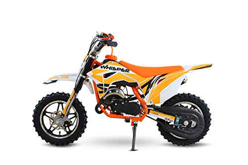 Whisper 49cc Dirtbike 10/10 Bereifung 3- Stufen Drossel Dirtbike Pocketbike Crossbike (Orange)