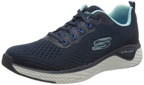 Skechers Damen SOLAR Fuse Cosmic View Sneaker, Blau Marineblau Mesh Blau Besatz Nvbl, 38 EU