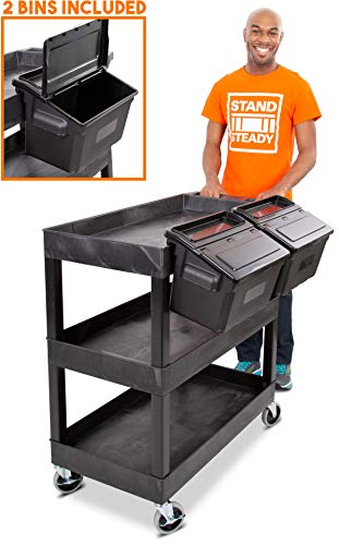 Original Tubstr 3 Shelf Utility Cart with 2 Attachable Storage Bins  Heavy Duty Service Cart - Supports up to 400 lbs  Tub Cart wDeep Shelves - Great for Warehouse Garage More 32 x 18  Black