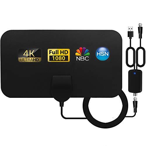SUBSTU Antena TV Interior, Ultra Plana Antena TV,Antena de TV HD Digital Interior con Amplificador de señal, Alcance de hasta 80KM, 4K 1080P HD VHF UHF Compatible con Canales Locales.