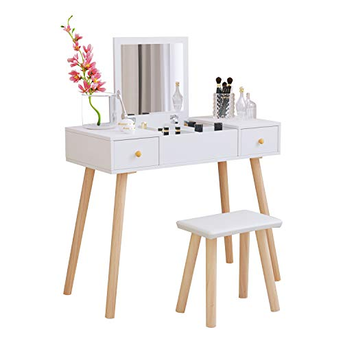 White Dressing Table with Flip Up Mirror, Vanity Makeup Table Set with 2 Drawers, Stool and Storage Units