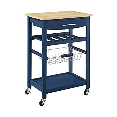 Linon Home Decor Products Pascal Kitchen Cart, Denim with Wood Top from Linon Home Decor Products