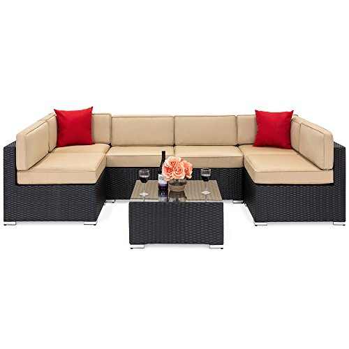 Best Choice Products 7-Piece Outdoor Patio Rattan Wicker Sectional Conversation Sofa Set w/Table, 6 Sofa Chairs, Assembly Required, Black