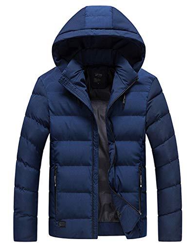 APTRO(アプトロ)メンズ ダウンコート ダウンジャケット 中綿ダウン 秋冬コート 分厚い アウターコートフード着脱可 暖かい 撥水 防寒コート (L, ダックブルー)
