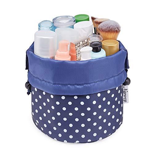 Bolsa de maquillaje de barril de viaje con cordón organizador de artículos de aseo impermeable para mujeres y niñas (pequeño, lunares pequeños)