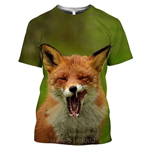 Fox T Shirt 3D Print Animal Men Women Anime Sweatshirt Short Sleeve Hip Hop Tops O Neck Pullover 7 Asia L