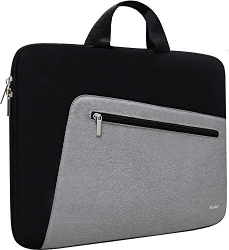 15.6 Inch Laptop Bag Sleeve,Slim Durable Notebook Computer Protection Case Business Briefcase Handle Bag Compatible with 14 15 15.6 inch MacBook Pro HP Dell Acer Asus Chromebook Computer (Black/Grey)