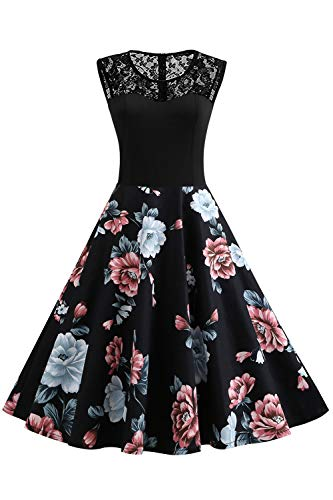 Axoe Damen 50er Jahre Rockabilly Kleid mit Blumenmuster Ärmellos, Farbe06, XXXXL (50 EU)