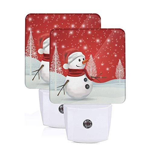 Set of 2 Led Night Lights, Christmas Tree Snowman Snowflake Winter Santa Claus Auto Dusk-to-Dawn Sensor Night Lamp Plug-in Home Decorative for Adult