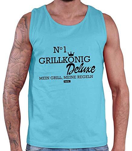 HARIZ Herren Tank Top Grillkönig Deluxe Grill Geburtstag Inkl. Geschenk Karte Atoll Blau XXL